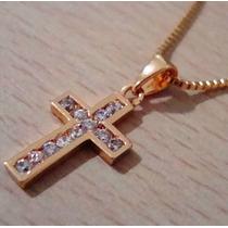 Corrente Feminina + Crucifixo Strass Folheados A Ouro 18k