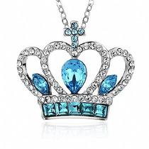 Colar Feminino Banhado A Prata - Rainha Coroa Azul