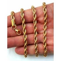 Cordão Masculino Aço Inoxidável Cor Ouro 18k 73 Cm 5mm