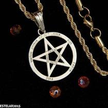 Pentagrama Estrela Salomão Tetragrama Aço Corrente +pingente