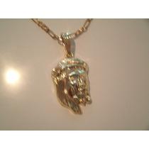 Pingente Rosto Jesus Cristo + Corrente Fina Aço Inox Dourado