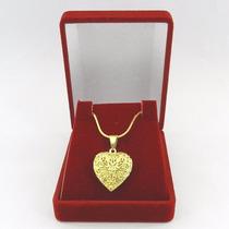 Corrente Feminina 50cm Relicario 2cm Folheado Ouro Cr317