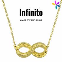 Corrente Folheado A Ouro 18k - Infinito Amor Eterno Amor