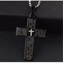 Colar Corrente Gargantilha Cruz Biblia Preto - Frete R$3,99
