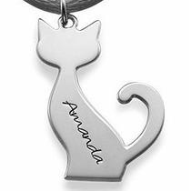 Corrente Colar Com Gato Em Prata 925 Personalizado Com Nome