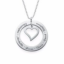 Colar Corrente Em Prata 925 Circulo Com Coração Gravado Nome