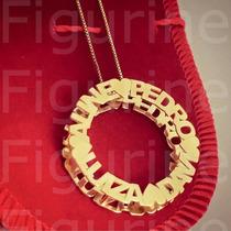 Colar Mandala Personalizada Com Nomes - Banhado A Ouro 18k
