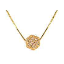 Gargantilha Prata Banhada A Ouro Pingente Hexagonal Zircônia