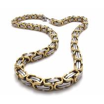 Corrente Masculino Aço Inox 316l Cor: Prata/ouro8mm X 56,5cm