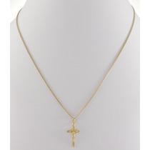 Corrente Feminina Grumet + Pingente Crucifixo Ouro 18k