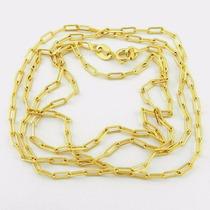 Corrente Maciça Folheado Banhado A Ouro 18k Elos Elegante