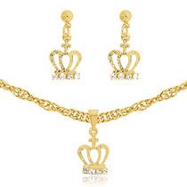 Cordão Feminino + Pingente De Coroa E Cruz Banhado Ouro 18k
