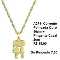Folheado A Ouro - Corrente 40cm + Pingente Casal 2cm