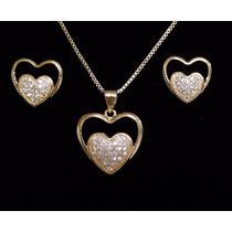 Colar Brincos Feminino Coração Cristal Pavê Banhado Ouro18k