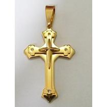 Pingente Crucifixo Com Pedras - Banhado A Ouro 18k