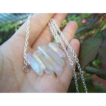 Colar Pedra Cristal De Aura Arco-íris Místico Wicca