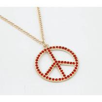 Colar Cordão Pingente Gargantilha Símbolo Paz Peace Vermelho