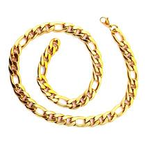 Cordão Masculino Cor Ouro 18 K Aço Inoxidável Frete Grátis