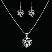 Colar + Brincos Feminino Corações Em Prata 925 + Prata Pura