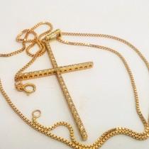 Sansacional Corrente E Crucifixo Com Diamantes Em Ouro 18k