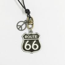 Colar Masculino Feminino Couro Pingente Route 66 Símbolo Paz