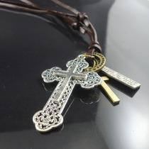Colar Cordão Masculino Em Cruz Crucifixo Prata Mais Pingente
