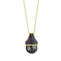Colar Banhado Ouro 18k - Pingente Pérola Negra Com Zircônias