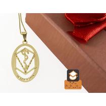 Colar Veterinária - Folheado Em Ouro (garantia 1 Ano)