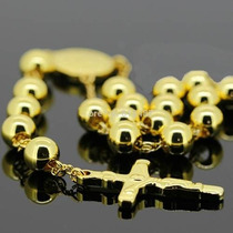 Colar Terço Dourado Em Aço Cirúrgico Masculino - Homens