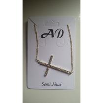 Corrente Feminina Crucifixo/cruz Folheada Em Ouro 18k