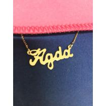 Corrente Com Nome Personalizado Agda,folheada A Ouro 18