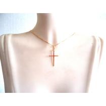Cordão Fio Joia Em Ouro Amarelo 18k Com Pingente Crucifixo