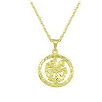 Corrente Com Medalha De São Jorge Folheada A Ouro 44 Cm.