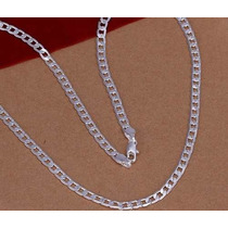 Corrente Colar Masculino Folheado Prata 925. 60cm 4mm