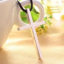 Colar Em Couro Ecológico Feminino Cruz Crucifixo Prata