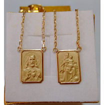 Leão Jóias Escapulário Médio Ouro 18k Corrente Reforçada