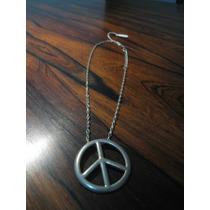 Colar Corrente Envelhecida C/ Pingente Símbolo Da Paz 45cm
