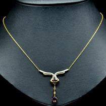 Colar De Prata Banhado A Ouro 14k Com Ametistas E Diamantes