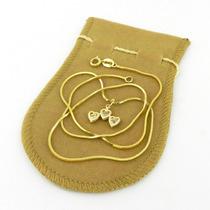 Corrente Feminina 45cm 1mm 3 Coração Folheado Ouro Cr708
