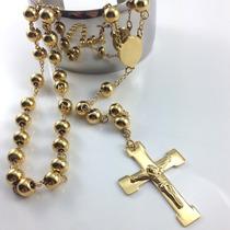 Colar Terço Oração Rosário Banhado Ouro 18k