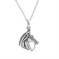 Bling Jewelry Cavalo Cabeça Pingente Prata Equestre Colar