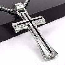 Colar Masculino Com Cruz, Corrente Com Crucifixo Em Aço Inox