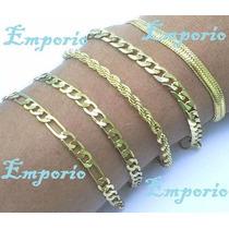 Lote Com 5 Pulseiras Unisex Banhada Ouro18k Promoção