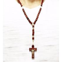 Terço Colar Em Madeira Homens De Pescoço Masculino Cruxifixo