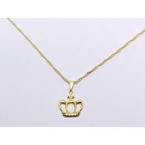 G0004 Northern Colar Pingente Coroa Lady Folheado Ouro 18k