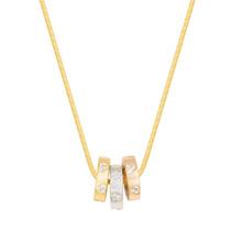 Colar C/3 Tons De Ouro Pingentes Argolas Em Forma De Coração