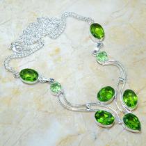 Colar Prata 925 Com Ametistas Verde E Peridotos Naturais!!!