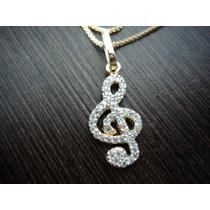 Gargantilha Prata Banho Ouro Pingente Nota Musical Clave Sol