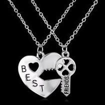 Colar Best Friend - Amizade Melhores Amigas Chave Coração