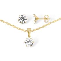 Gargantilha C/ Pedra De Cristal Swarovski Feminina Ouro 18k